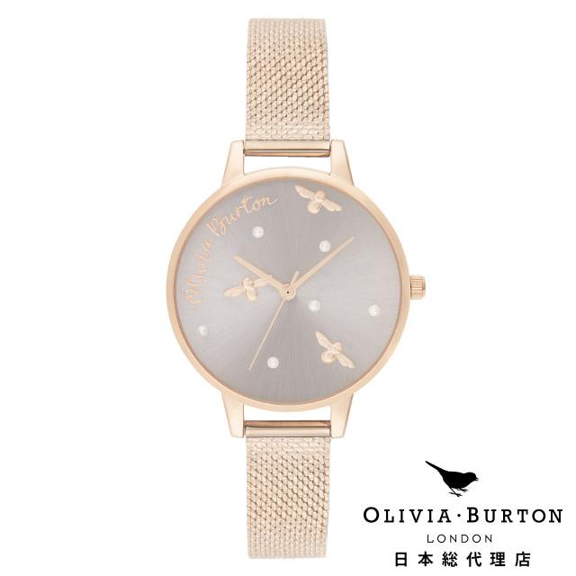 オリビアバートン レディース 腕時計 日本正規代理店 公式ストア Olivia Burton パーリークイーン パールディティール ブークレ ローズゴールドメッシュ