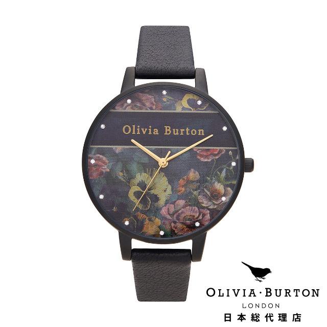 オリビアバートン 新作 レディース 腕時計 日本正規代理店 公式ストア Olivia Burton ヴァースティ マットブラック & ゴールド ディティールズ 38mm 花柄 フラワー