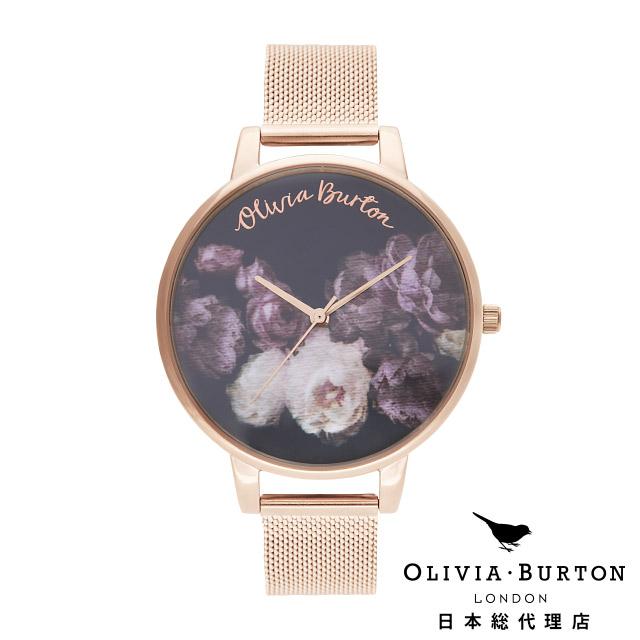 オリビアバートン レディース 腕時計 日本正規代理店 公式ストア Olivia Burton ファインアート ローズゴールドメッシュ 花柄 フラワー