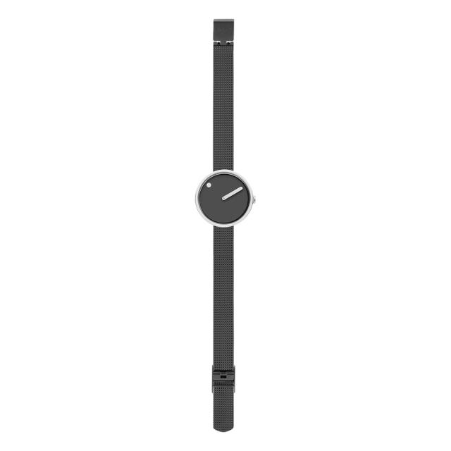 ピクト 時計 メンズ レディース PICTO Picto 30 mm, サンダー グレー ダイヤル, ポリッシュド スティール ベゼル, マット グレー メッシュバンド 腕時計