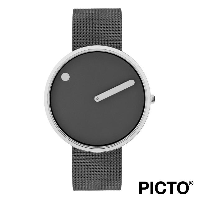 ピクト 時計 メンズ レディース PICTO Picto 40 mm, サンダー グレー ダイヤル, ポリッシュド スティール ベゼル, マット グレー メッシュバンド 腕時計