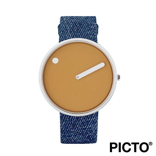 ピクト 腕時計 メンズ レディース PICTO Picto 40mm マスタード イエロー ダイヤル, ポリッシュド スティール ベゼル, ライト ブルー デニム ストラップ
