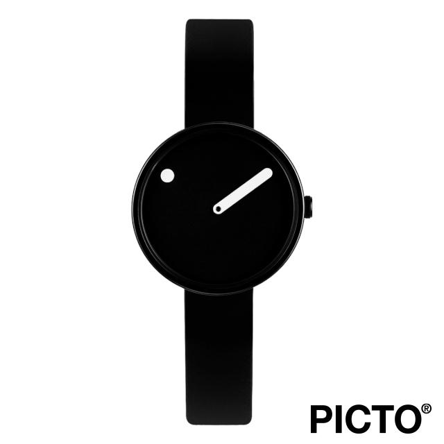ピクト 時計 メンズ レディース PICTO Picto 30 mm, ブラック ダイヤル ホワイト ドット, ポリッシュド ブラック ベゼル, ブラック シリコン ストラップ 腕時計