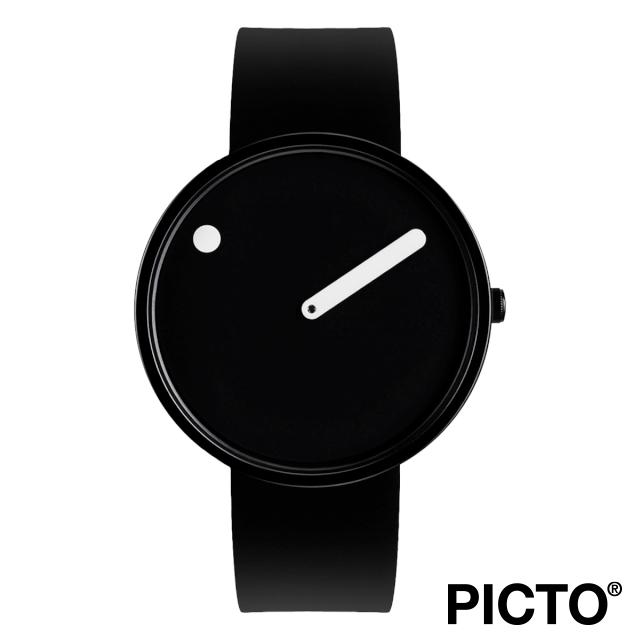 ピクト 時計 メンズ レディース PICTO Picto 40 mm, ブラック ダイヤル ホワイト ドット, ポリッシュド ブラック ベゼル, ブラック シリコン ストラップ 腕時計