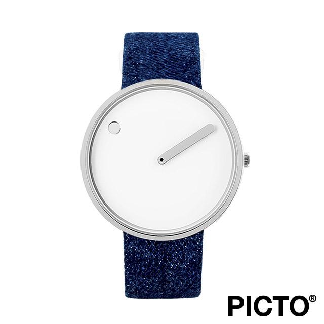 ピクト 腕時計 メンズ レディース PICTO Picto 40mm ホワイト ダイヤル, ポリッシュド スティール ベゼル, ダーク ブルー デニム ストラップ