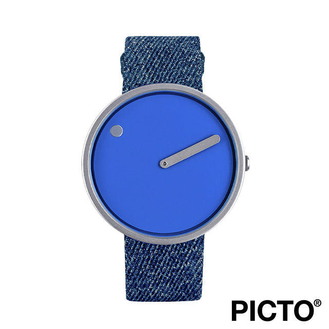 ピクト 腕時計 メンズ レディース PICTO Picto 40mm コバルト ブルー ダイヤル, ポリッシュド スティール ベゼル, ライト ブルー デニム ストラップ