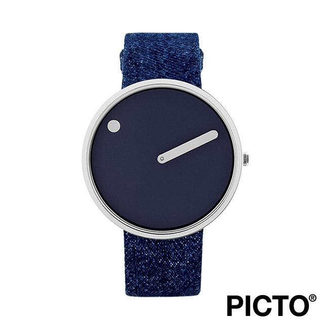 ピクト 腕時計 メンズ レディース PICTO Picto 40mm ネイビー ブルー ダイヤル, ポリッシュド スティール ベゼル, ダーク ブルー デニム ストラップ