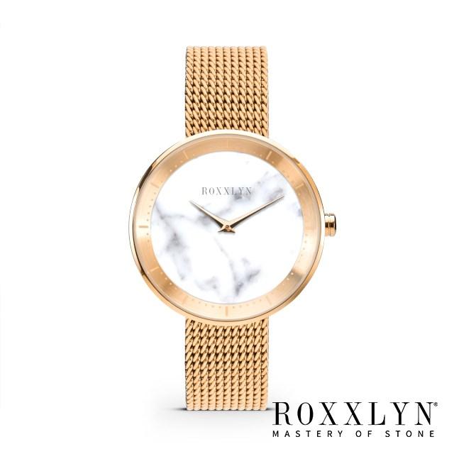 ロクスリン 腕時計 ROXXLYN ビアンコカラーラ ローズゴールド