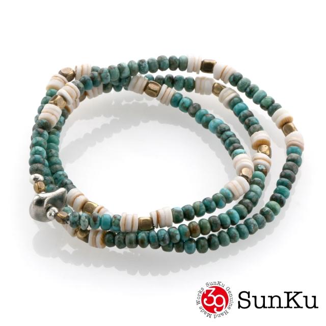 サンク【SunKu 39】ターコイズ ビーズ ミックス ネックレス&ブレスレット