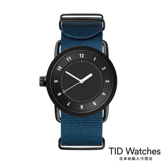 [ボールペンプレゼント]ティッドウォッチズ【TID Watches】 腕時計 メンズ レディース No.1 Black / ブルー ナイロン ベルト 36mm