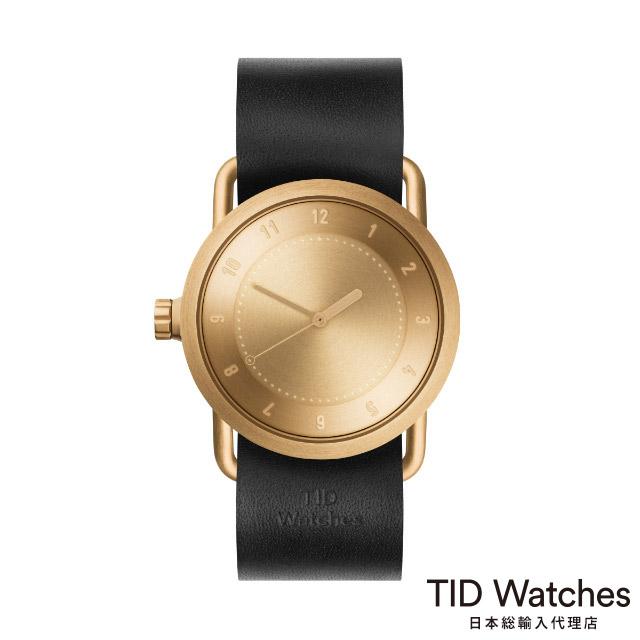 ティッド ウォッチ【TID Watches】 腕時計 メンズ レディース No.1 ゴールド / ブラック レザー ベルト 36mm