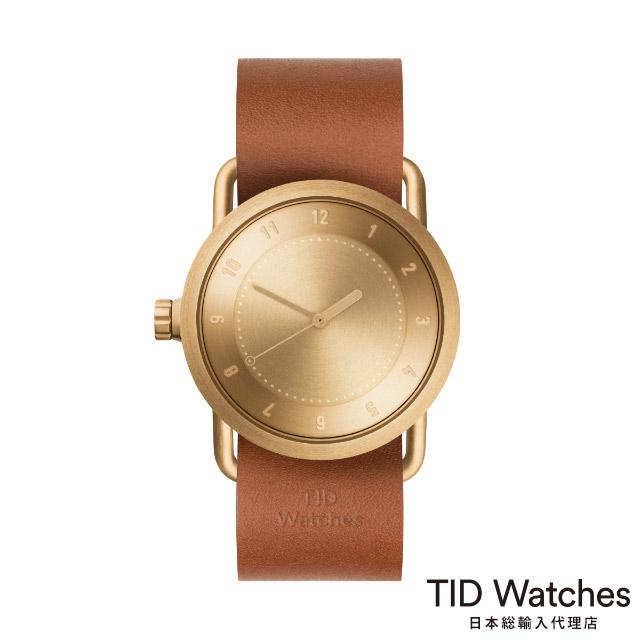 ティッド ウォッチ【TID Watches】 腕時計 メンズ レディース No.1 ゴールド / レザー ベルト ブラウン 36mm