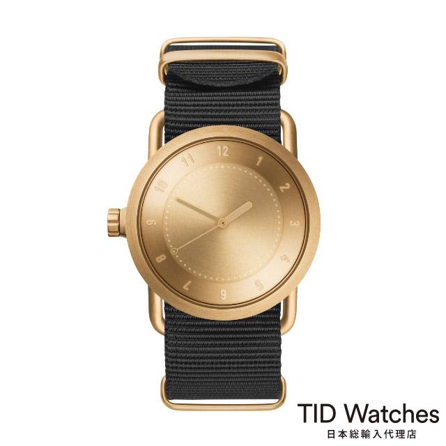 ティッド ウォッチ【TID Watches】 腕時計 メンズ レディース No.1 ゴールド / ブラック ナイロン ベルト 36mm