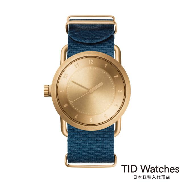 [ボールペンプレゼント]ティッドウォッチズ【TID Watches】 腕時計 メンズ レディース No.1 ゴールド / ブルー ナイロン ベルト 36mm