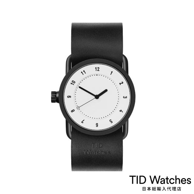ティッド ウォッチ【TID Watches】 腕時計 メンズ レディース No.1 White / ブラック レザー ベルト 白文字盤 33mm