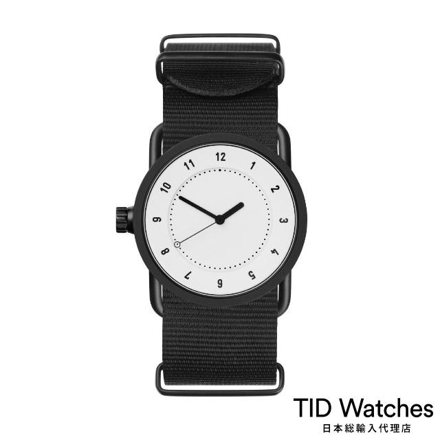 ティッド ウォッチ【TID Watches】 腕時計 メンズ レディース No.1 White / ブラック ナイロン ベルト 白文字盤 33mm