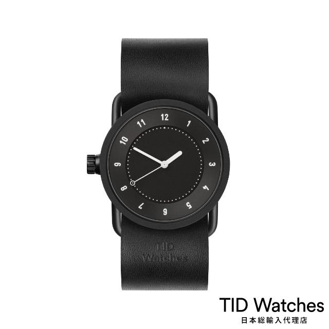 ティッド ウォッチ【TID Watches】 腕時計 メンズ レディース No.1 Black / ブラック レザー ベルト 黒文字盤 33mm