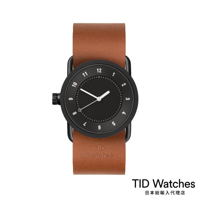 ティッド ウォッチ【TID Watches】 腕時計 メンズ レディース No.1 Black / レザー ベルト ブラウン 黒文字盤 33mm