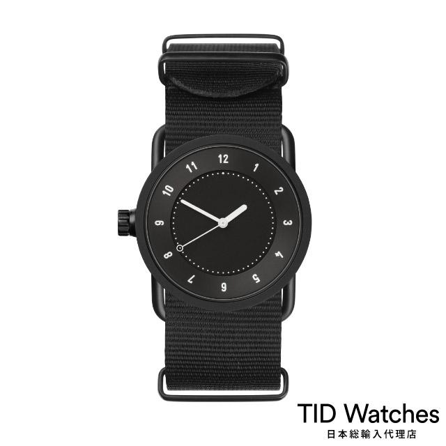 ティッド ウォッチ【TID Watches】 腕時計 メンズ レディース No.1 Black / ブラック ナイロン ベルト 黒文字盤 33mm