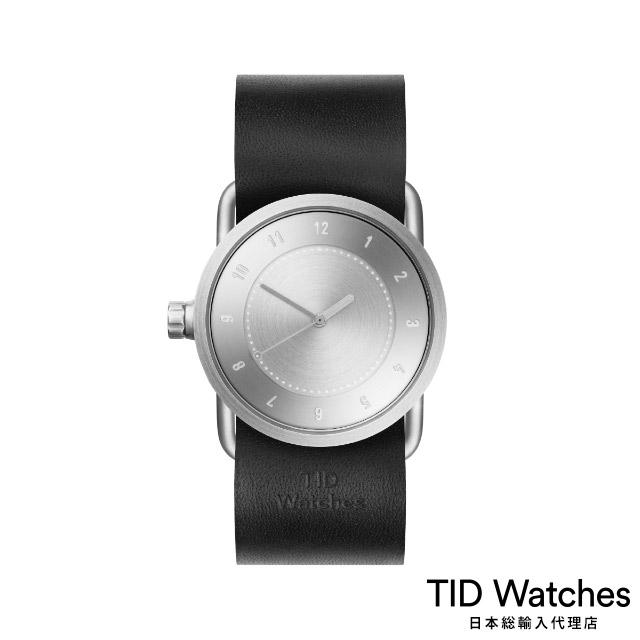 ティッド ウォッチ【TID Watches】 腕時計 メンズ レディース No.1 Steel / ブラック レザー ベルト 33mm