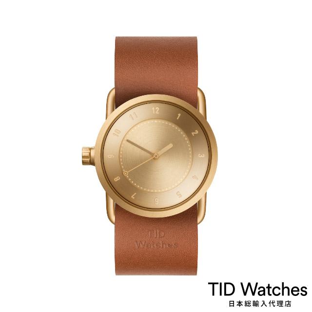 ティッド ウォッチ【TID Watches】 腕時計 メンズ レディース No.1 Gold / レザー ベルト ブラウン 33mm
