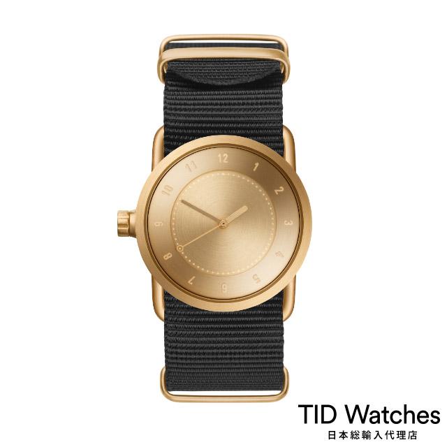 ティッド ウォッチ【TID Watches】 腕時計 メンズ レディース No.1 Gold / ブラック ナイロン ベルト 33mm