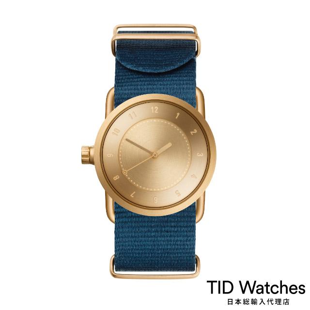 ティッド ウォッチ【TID Watches】 腕時計 メンズ レディース No.1 Gold / ブルー ナイロン ベルト 33mm