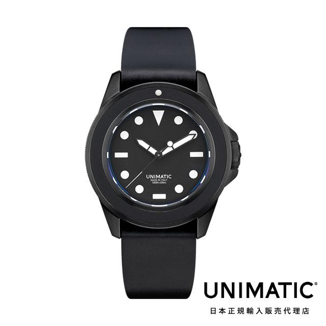 ウニマティック 腕時計 防水 ブラック シェルコードバン ベルト UNIMATIC Modello Uno Ref. U1-fmn