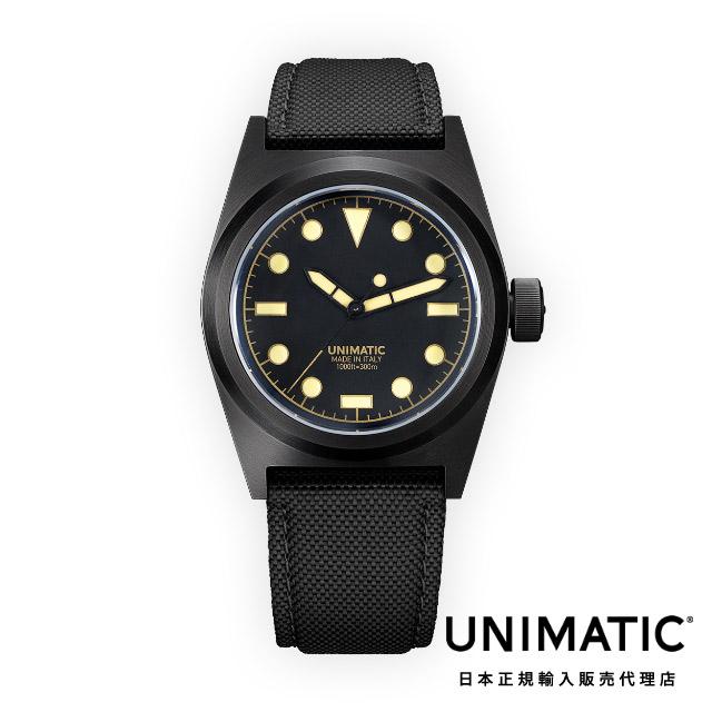 ウニマティック 腕時計 防水 ブラック ベルト UNIMATIC Modello Due U2-CN
