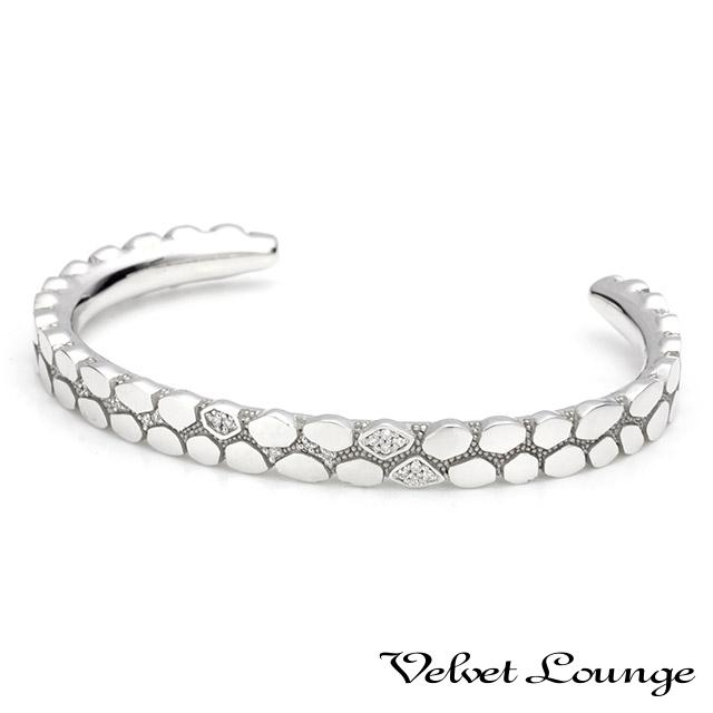 ヴェルヴェットラウンジ【Velvet Lounge】ジオメトリースケールバングル ホワイト/ダイヤモンド