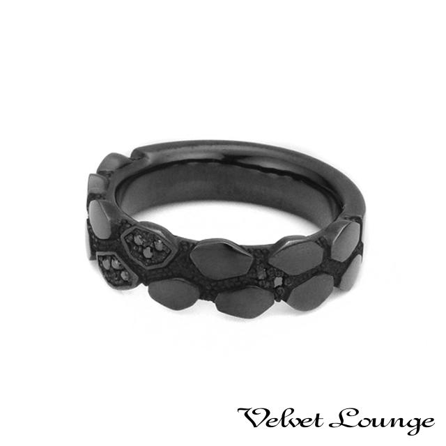 ヴェルヴェットラウンジ【Velvet Lounge】ジオメトリースケールリング ブラック/ブラックダイヤモンド