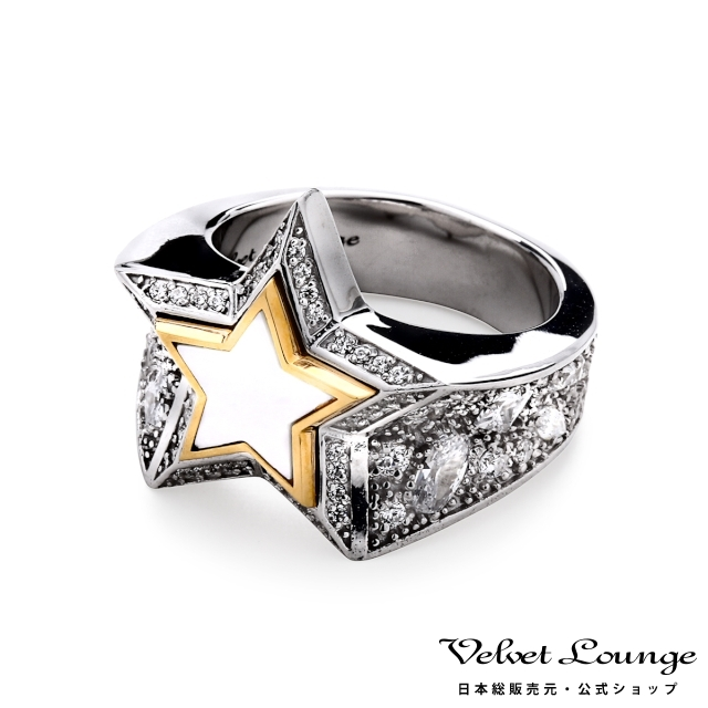 ヴェルヴェットラウンジ Velvet Lounge スターダストスターリング ホワイト/ゴールドフレーム w/ホワイトシェル 指輪