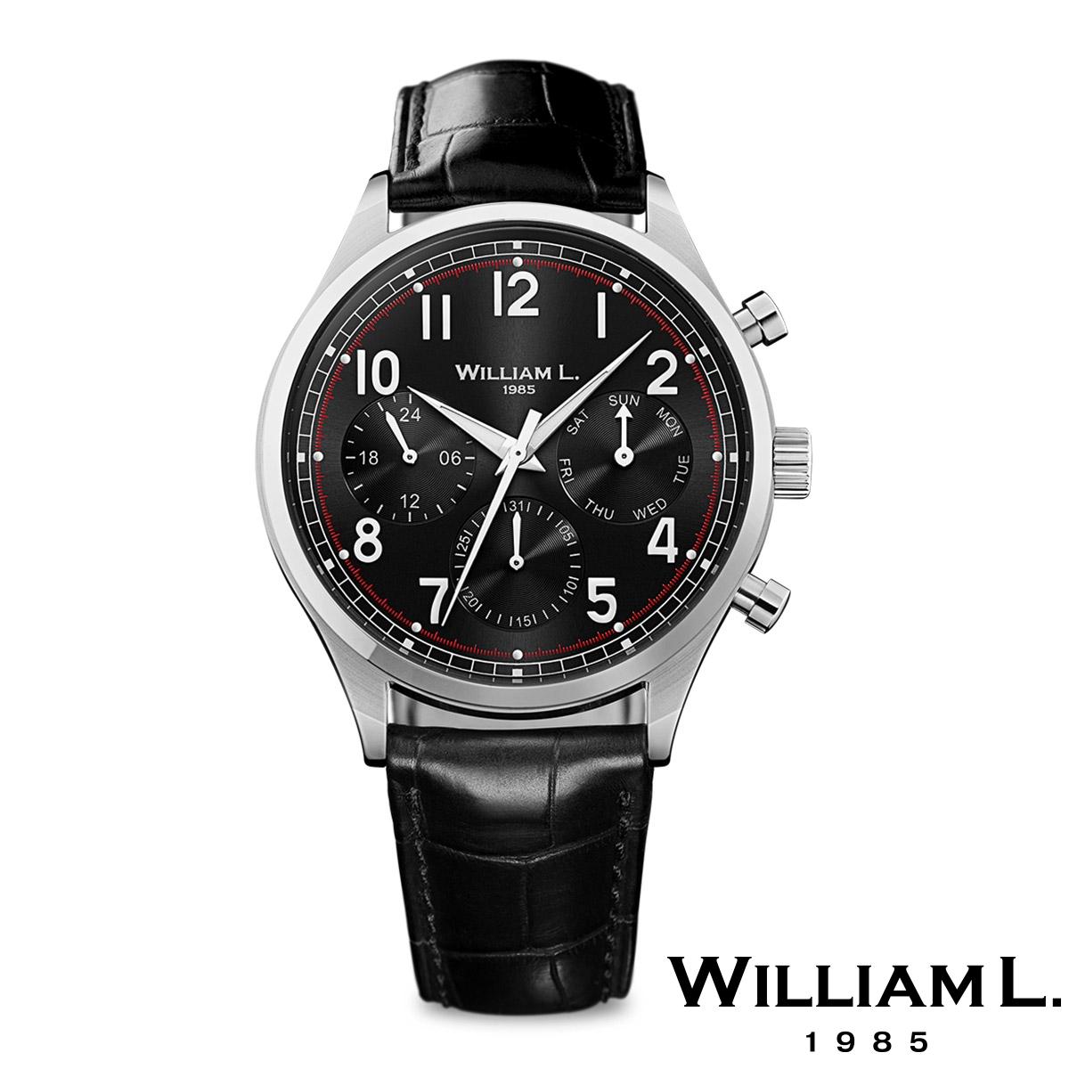 ウィリアムエル1985【WILLIAM L.1985】ヴィンテージスタイルカレンダー シルバー ケース ブラック ダイヤル ブラック クロコ - シルバー / 40mm