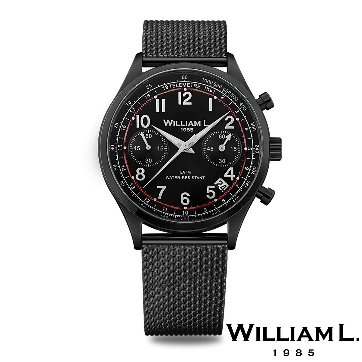 ウィリアムエル1985【WILLIAM L.1985】ヴィンテージスタイルクロノグラフ ブラック ケース ブラック ダイヤル メッシュ ブラック - ブラック / 40mm
