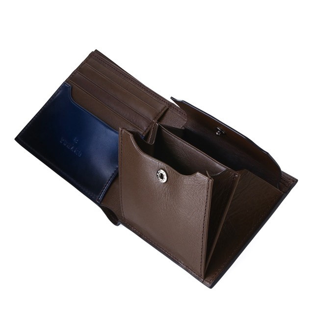 ユハク YUHAKU 二つ折り 財布 ディアマント バイ フォールド ウォレット ブルー3TFJcK1l