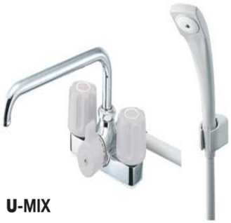 三栄水栓(SANEI) ツーハンドル台付 ツーバルブデッキシャワー混合栓 バスルーム用 SK71-LH