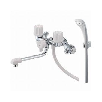 三栄水栓 壁付シャワー付ツーバルブ混合栓(一時止水付) バスルーム用【SK1104D-LH】