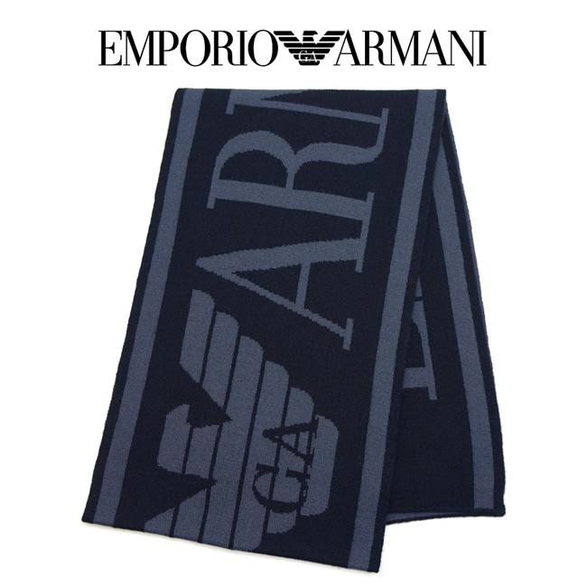EMPORIO ARMANI エンポリオアルマーニ 6Z1409 1MA1Z F949 マフラー ネイビー メンズ ロゴ 【あす楽対応】