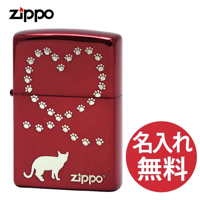 【名入れ無料】 zippo ジッポ ジッポー NKQ-IR レッド キャット ハート ネコ 猫 zippoレギュラー 【メール便可】