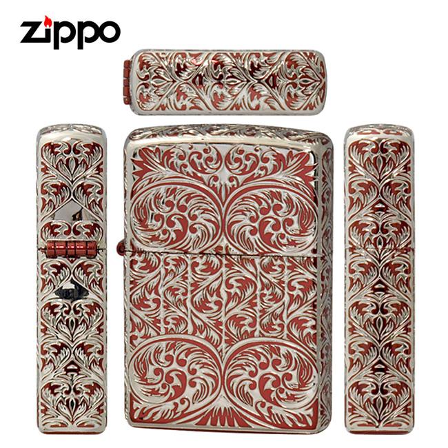 zippo ジッポ ジッポー Splendor II スプレンダー2S レッド シルバー 5面連続エッチング アラベスク レギュラー