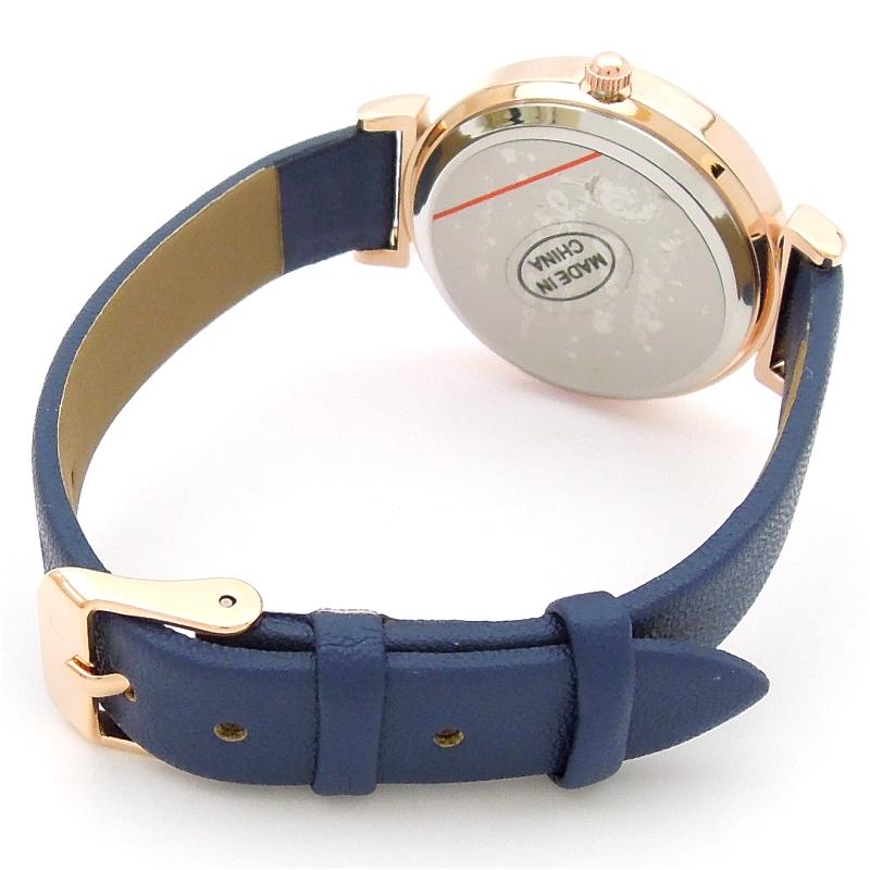 【 メール便  】 大きく 見やすい ハンサム フェイス レザーベルトウォッチ 【ネイビー ブルー】 腕時計 レディース  ポイント 最大43倍 ! お買い物マラソン  母の日 プレゼント にもビアリッツ