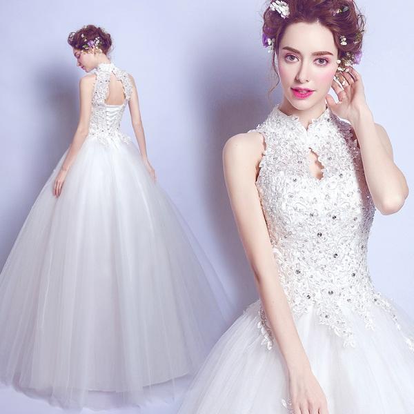 【Diary of love 愛の日記】ウェディングドレス Aラインドレス エンパイア 二次会 花嫁 編み上げタイプ ホワイトレース ウェディング パーティードレス・結婚式・二次会 ウエディングドレス 花嫁ドレス ドレス 嬢ドレス XS-XXXL