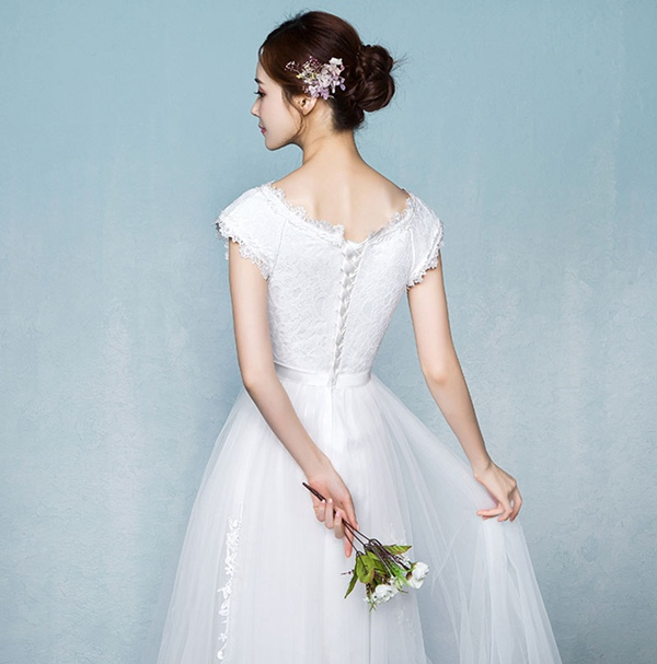 fe11f8bba8504  即納  花嫁ドレス夏ワンピース 無地 二次会 結婚式 レース  Diary of love