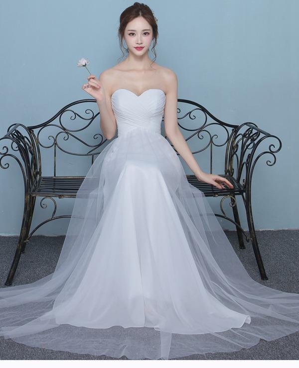 15875a4562ed1  Diaryoflove愛の日記 ウェディングドレスドレス二次会花嫁ロングドレスエンパイアベアトップ