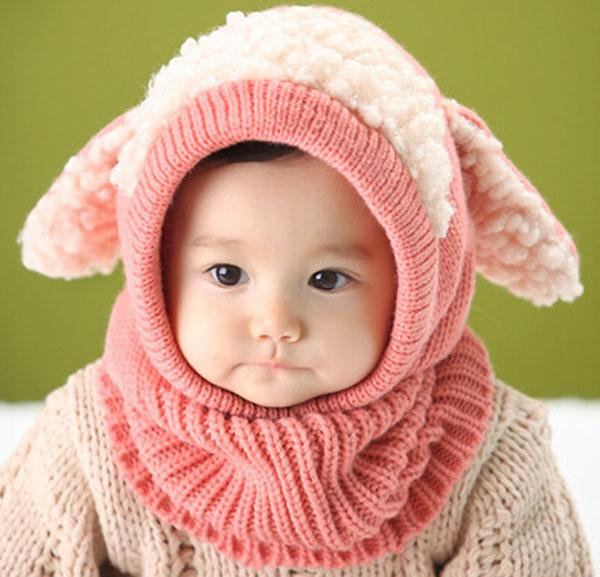 再入荷済! 即納 メール便送料無料 子供用アニマルフードのニット帽 耳付き ネックウォーマー ヒツジ耳 ニットキャップ スヌード キッズ ベビーかわいい 秋 冬 子ども 男の子 女の子 男女兼用 幼児 Kids 代引き不可