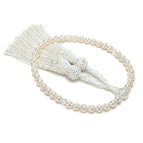 あこや 本真珠 念珠 アコヤ真珠 6.5-7mm 念珠ケース付き 正絹 数珠 念誦 アコヤパール 水晶 【敬老の日 ギフト プレゼント】