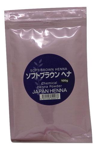 【メール便/送料無料】 ジャパンヘナ 白髪リタッチ部分用ヘナ ソフトブラウン100g 白髪を7トーンに 人工染料混合タイプ ハーブカラー