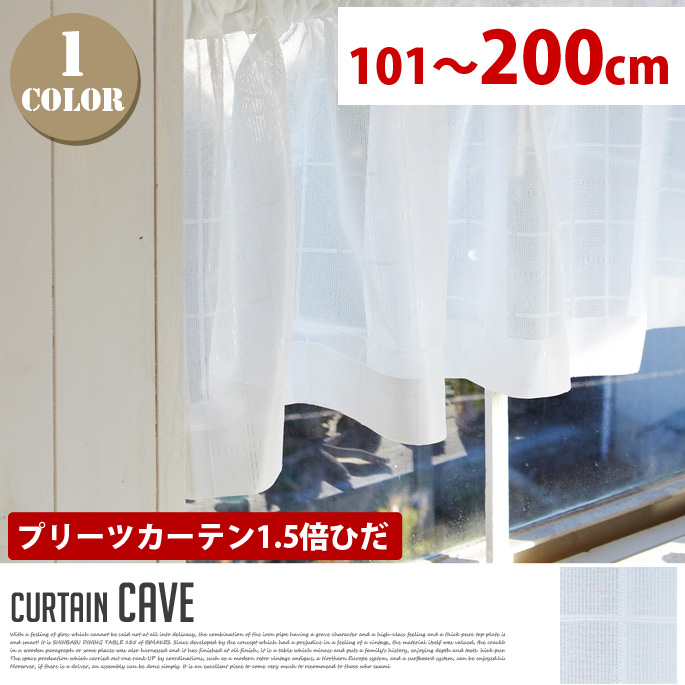 Cave(ケーブ) プリーツカーテン【1.5倍ひだ】 (幅:101-200cm)送料無料