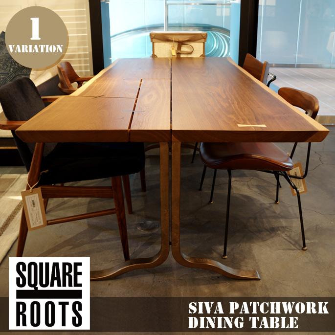 シーバ パッチワーク ダイニングテーブル スモークドオーク プラスレッグ(SIVA PATCHWORK DINING TABLE SMOKED OAK BRASS LEG) スクエアルーツ(SQUARE ROOTS) 122571 送料無料