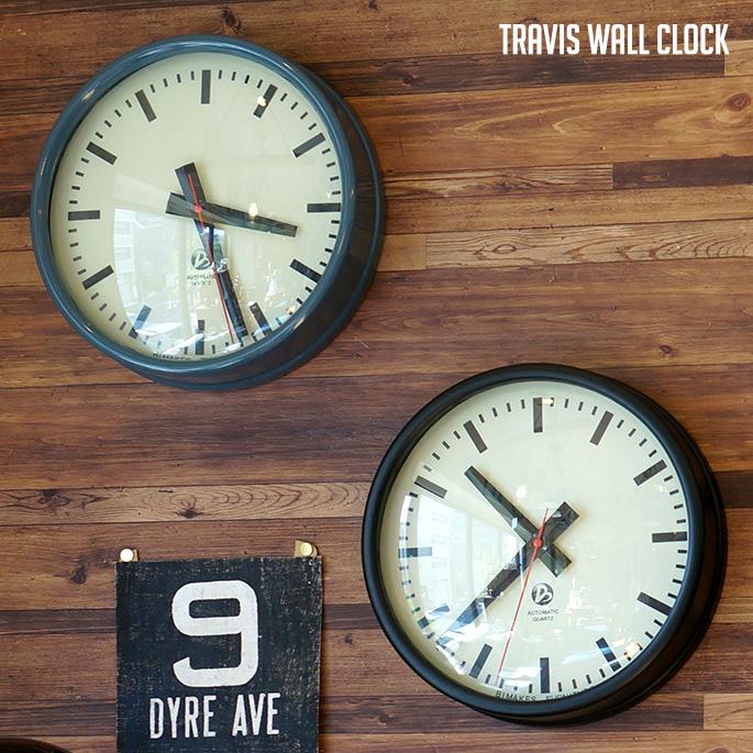 掛時計 時計 壁掛け ウォールクロック 直径30cm スイープ 静音 ミリタリーグレー ヴィンテージブラック スチール アルミ 西海岸 ビンテージ 掛け時計 ギフト ミリタリー WALL CLOCK あす楽 卸直営 ビメイクス BIMAKES ミッドセンチュリー トラヴィス 送料無料 TRAVIS セール